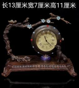 纯铜镶宝石机械表摆件
