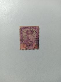 马来亚柔佛州早期邮票 苏丹像 四先 加盖1930年戳记 极其稀少 马来亚殖民地时期邮票