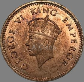 印度英国乔治六世1938年硬币