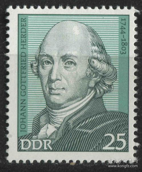 德国邮票 东德  1974年 作家赫尔德 1枚新