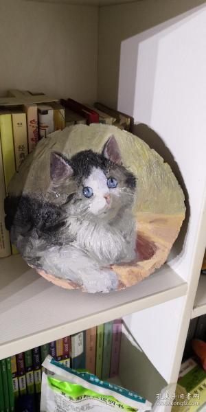 原木木片油画 猫咪尺寸直径18—19cm 厚度1.5cm