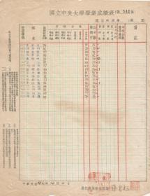 中国著名心理学家、教育家 -  张肖松 ,中国有史以来第三位获心理学博士学位的女性学者,曾于国立中央大学担任老师时学生的成绩单,1938年,有签名印章。