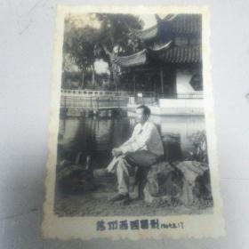 六十年代苏卅西园放生池留影照片一张