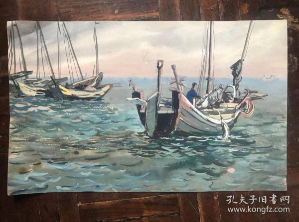 水彩小画《海滨》