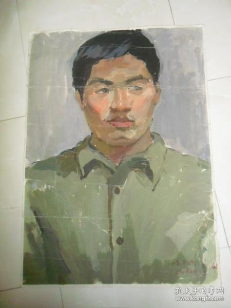 带签名的水粉(水彩)画《人物肖像》