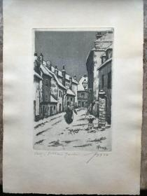 近代西方蚀刻藏书票 vitezlav fleissig 亲笔签名  风景人物版画