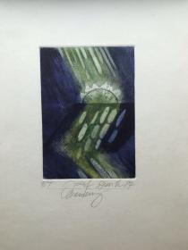近代西方蚀刻藏书票 J.Dusik 杜斯科  亲笔签名 幻想抽象1