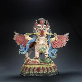 晚清老铜錾刻上彩大鹏金翅鸟迦楼罗佛像摆件铜器造像