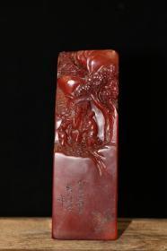 旧藏红田黄石手工雕刻《香山访友》印章,全部亏本处理当工艺品卖x22042