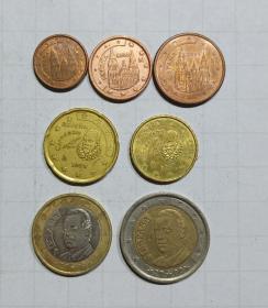 西班牙  硬币7枚 欧元 旧品 外国钱币