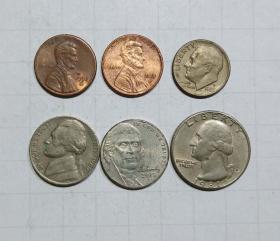 美国 硬币6枚旧品 外国钱币