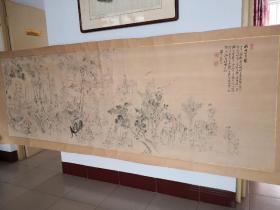 日本回流*超大横幅*民国老画《幽诗七月图》画了众多人物 二十多平尺