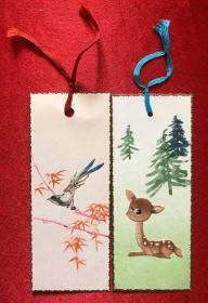 小鹿、小鸟 动物手绘 书签二枚