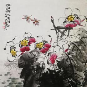【保真】【陈书雅】河南省美术家协会会员,中国书画研究社会员、教育科学出版社美术编辑,北京师白艺术研究会会员、四尺斗方花鸟(68*68CM)(映日荷花别样红)