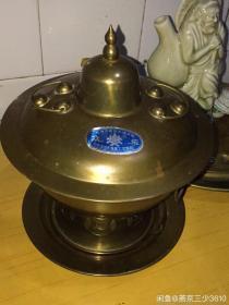早期的 两用 铜火锅 精致小火锅