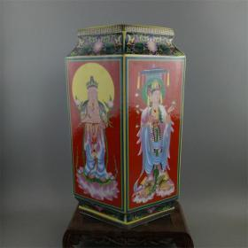 大清雍正御制珐琅彩四大佛像四方瓶古董古玩仿古瓷花瓶摆件收藏