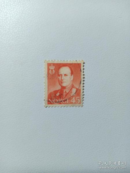 挪威早期邮票 奥拉夫五世国王像 1958年 奥拉夫五世(Olav V)1957年9月21日-1991年1月17日