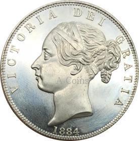 英国1/2皇冠维多利1884年硬币