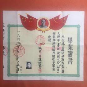 1956年毕业证书:甘肃省庆阳县初级中学校。校长:王德馨,学生:王志敬