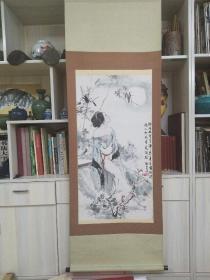 宁新生笔名甡生《明月千里寄相思》,原装裱纸本木轴,保真迹。尺寸:98x51.5cm.