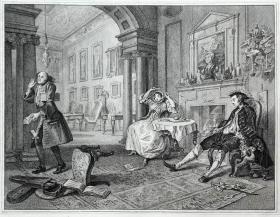 """1823年英国著名收藏家""""安格斯坦(Angerstein)""""所藏名画蚀刻铜版画—《时髦的婚姻组画(共6幅)》(2)英国画家 """"威廉·荷加斯(William Hogarth 1697-1764年)""""作品 R.W.SIEVIER雕刻 版画专用水印纸 30x24cm"""