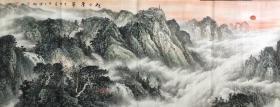 ?【保真】【潘興鵬】中國國畫家理事、廣西美協會員、桂林美協會員、手繪小六尺山水(180*69CM)(旭日東升)