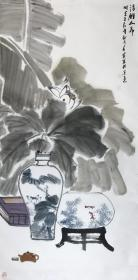 【真迹】【闫春雷】河北美协会员、进修于清华美院\九州画院副院长,花鸟画国画四尺中堂水墨荷花(136×68CM)