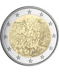 法国版 2019年 推倒柏林墙30周年2欧元双金属纪念币 全新UNC