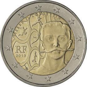 顾拜旦 法国2013年奥林匹克之父150周年2欧纪念币 外国钱币硬币