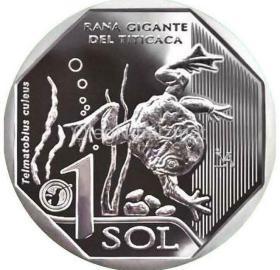 野生动物系列-青蛙 秘鲁2019年1索尔纪念币 全新UNC 镍币 硬币