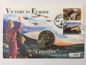 38mm邮币封2 特克斯和凯科斯1995年5克朗二战胜利50周年纪念币