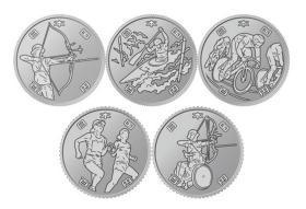 第3组 日本2020年东京奥运会100元纪念币5枚一套 23mm硬币全新UNC