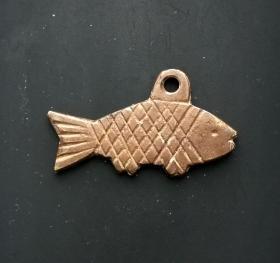 铜鲤鱼老挂坠美品