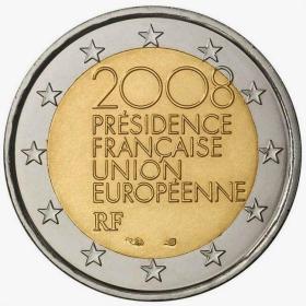 法国2008年 欧盟轮值主席国 2欧 双金属币纪念币 全新UNC