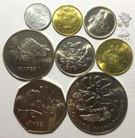 稀少版 塞舌尔1977-1982年1-5-10-25-50分-1-5-10卢比8枚一套硬币
