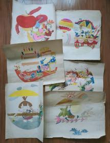 彩色连环画手稿《生日快乐》6张