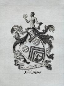 """英国艺术家""""THOMAS MORING""""铜版徽章藏书票  票主: F.W.SYKES 1901"""