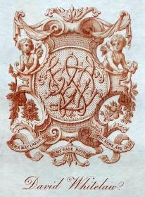 "英国艺术家""THOMAS MORING""铜版藏书票 票主:DAVID WHITELAW 1901"