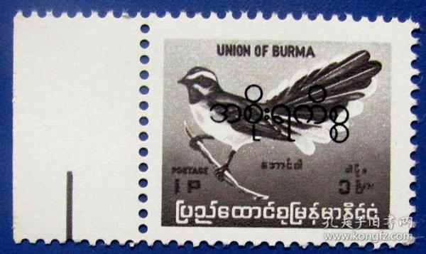 小鸟登高枝新票带边--早期缅甸邮票甩卖-实物拍照--永远保真--罕见