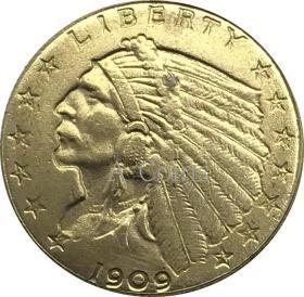 美国印度头季鹰1909年硬币