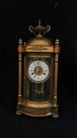 大型全鎏金四柱圆厅西洋钟表大座钟 高52厘米 宽25厘米