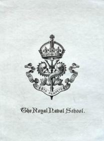 """英国艺术家""""THOMAS MORING""""铜版徽章藏书票  皇家海军学校 1901"""
