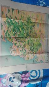 民国二十六年<庐山名胜一览图附庐山鸟瞰彩图>尺寸64.5x54cm