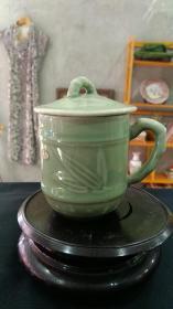 567瓷器,豆青釉竹节茶杯