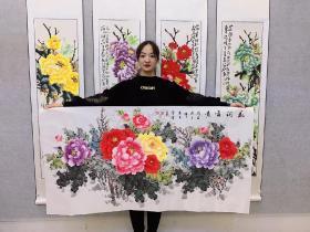 中国国画家协会会员曾娟老师四尺牡丹【花开富贵】横幅140*70厘米作品编号va009
