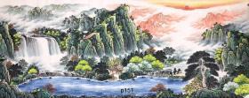 中国书画创作中心一级美术师曾松涛老师小八尺聚宝盆山水画【富水长流】