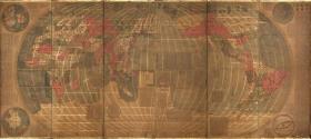 地图绘图原刻本:坤舆万国全图,意大利传教士利玛窦与李之藻合作而成,全图共六幅条屏,其内容大致分作三部分:主图是椭圆形的世界地图、四个角的天文图和地理图以及题跋解释说明的文字。这是中国第一幅完整的经纬世界地图。