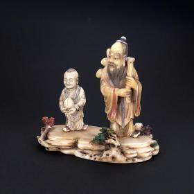 创汇老寿山石芙蓉石寿星童子寿桃人物石雕摆件质地细润大师雕刻
