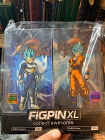 全新七龙珠徽章 美国FiGPiN出品 加大号超级赛亚悟空贝吉塔超赛蓝(超级赛亚人之神之超级赛亚人)立式徽章金属胸针 FiGPiN Dragon Ball fighter Z: XL SSGSS Goku and Vegeta X18 X19 一套(全新,盒子有破损)
