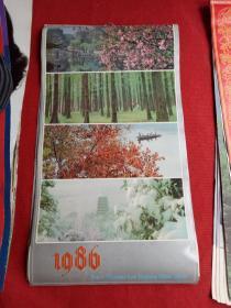 怀旧收藏挂历《1986年风景摄影》12月全上海人民美术出版社